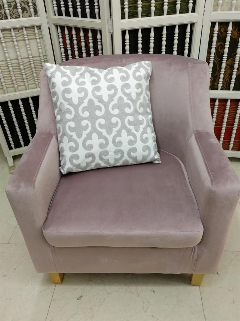 Butaca terciopelo rosa p lido mueble auxiliar - Butaca terciopelo ...